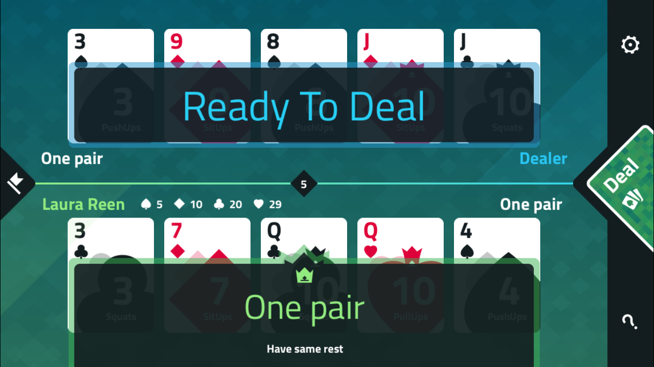 fitness poker screenshot